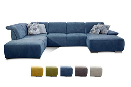 CAVADORE Wohnlandschaft Tabagos / U-Form mit Ottomane links / XXL Sofa mit Sitztiefenverstellung / Inkl. Kopf- und Armteilverstellung / 364 x 85 x 248 / Blau