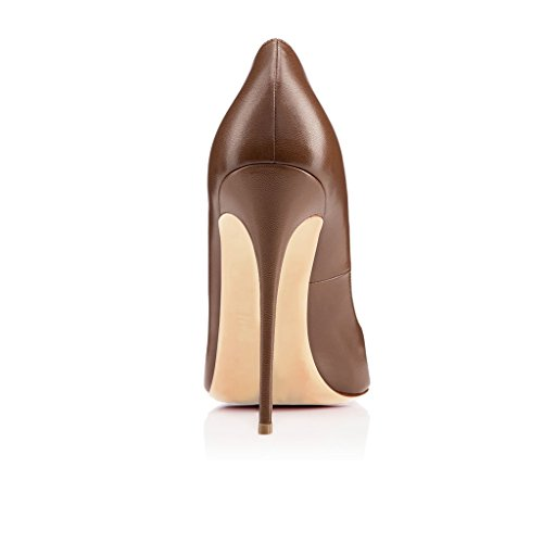 High Hohen Braun Peep Absätzen Pumps Heels Damen 120mm Schuhe Edefs Übergröße Toe xzwOq6KF