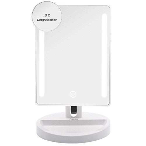 (Auxmir Kosmetikspiegel mit LED Licht, Tischspiegel Schminkspiegel Beleuchtet mit Blendfreier Bleuchtung und Dimmbarer Heilligkeit für Schminken, Rasieren und Gesichtspflege)