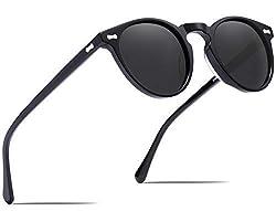 Carfia Runde Damen Herren Sonnenbrille Polarisierte UV 400 Schutz Brille Retro Acetat Rahmen