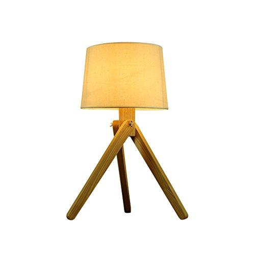 Lámpara de mesa de madera creativa nórdica, pantalla redonda de ...