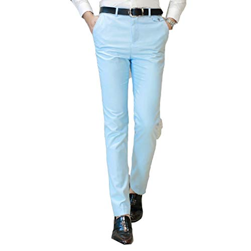 CuteRose Men Wrinkle-Free No-Iron Juniors Classic High Waist Casual Pants Light Blue S Free Flat Front Pant