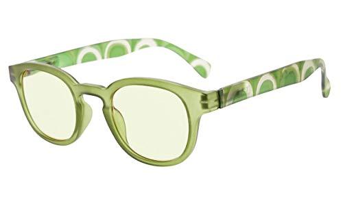 Eyekepper Lesebrille mit UV Schutz,Blendschutz,Antireflex Lesegeräte für Frauen (Grün, Gelb getönte Gläser) +1.0