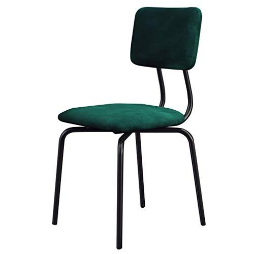 JBD Esszimmerstühle Metallbeine für Esszimmerstühle Bar-/Pub-Hocker mit mittlerer Rückenlehne, moderner Freizeit-Polsterstuhl, Sitz aus grünem Samt -