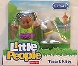 Set of 2 New Little People Figures - Tessa and Kitty + Eddie &Dog