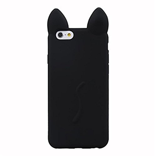 NightKid Chats et chatons mignons d'oreille silicone souple coque (iPhone 5C iPhone 6S iPhone 6 iPhone 5/5S iPhone 4/4S )(iPhone 5/5S,Vert) Noir