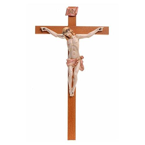 Crocefisso Fontanini 38x21 croce legno corpo pvc tipo porcellana