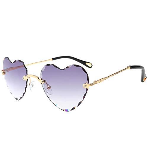 sharprepublic Hübsche Herzförmige Sonnenbrille Damenbrillen Sunglasses UV400-Schutz für Outdoor-Aktivitäten, Fahren, Strand und Urlaub - Grau