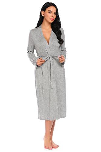 Bademantel Damen Schlafmantel Reisebademantel Leicht Kimono mit Gürtel Langarm Morgenmantel Knielang Saunamantel Pyjama Elegante Nachtwäsche V Ausschnit Robe für Frauen Herbst