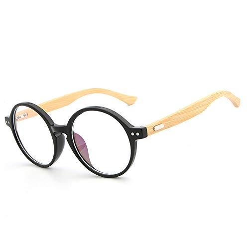 Herren Sonnenbrillen Einfache Gläser handgefertigte natürliche Bambus Bein Brillengestell Retro Runde Brillengestell LTJHJD (Color : 02 schwarz, Size : Kostenlos)
