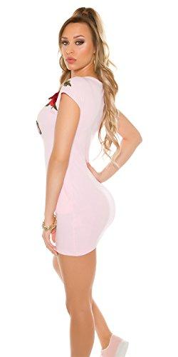 """Trendy Minikleid mit Stickerei - """"There are two Sides to every Story"""" - in drei verschiedenen Farben Pink"""