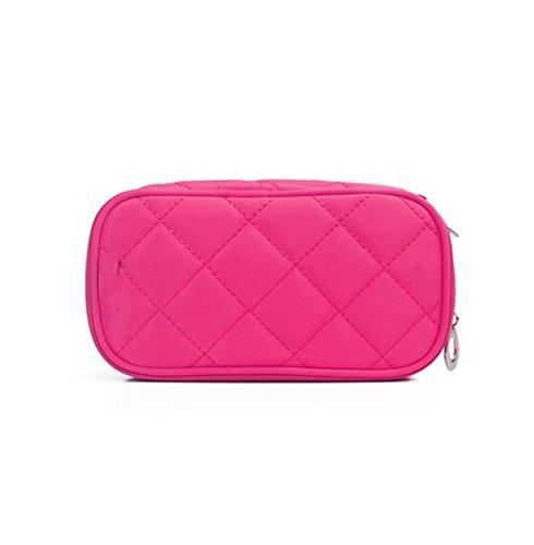 Mode Personnalité Mini Sac Cosmétique Portable Compact Maquillage Paquet Sac à Main Imperméable Wash Bag Sac Voyage Multi-fonction Packet (Avec Miroir) ( couleur : Rose red )