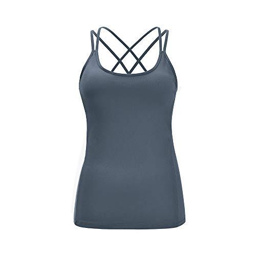 Lemedy Damen Yoga Shirt mit BH - X Rücken Sport Trainings Running Tank top (Grau, XL) - Ist T-shirt Xl Das Leben Gut Damen