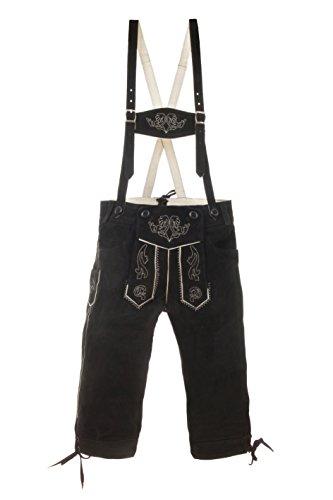 Kinder Trachtenlederhose Kniebund inkl. Hosenträger braun oder schwarz (164, schwarz)