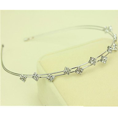 MZP South Korea Imported Hairpin Rhinestone Beaded Head Hoop Decorations Double Row Diamond Hair Band , platinum