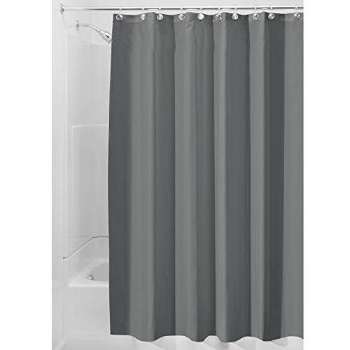 iDesign Duschvorhang aus Stoff, waschbarer Badewannenvorhang aus Polyester in der Größe 180,0 cm x 200,0 cm, wasserdichter Vorhang mit verstärktem Saum, dunkelgrau (Duschvorhang In Grau)
