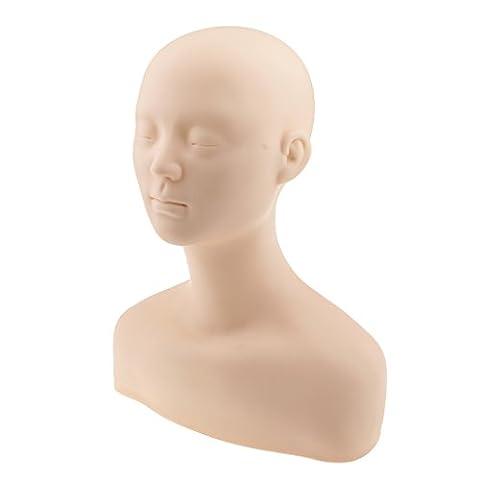 MagiDeal Professionnel Tête Epaule Os d'exercice Mannequin en Silicone Pour Maquillage Extension Cils et Massage Exercice