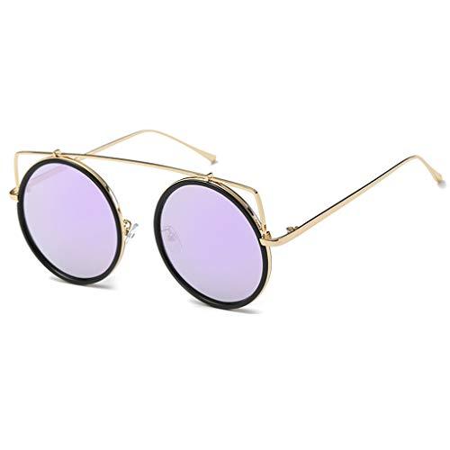 Meisijia Frauen-Runde Framed Sonnenbrillen Damen-Metall Versatile Brillen Eyewear Retro Style Street UV400