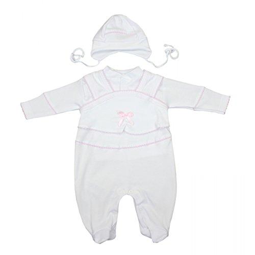 Taufkleidung 3-tlg. Set Baby Strampler Jäckchen Mütze Taufanzug Jungen Taufstrampler Mädchen, Farbe: Weiß / Mädchen, Größe: 56