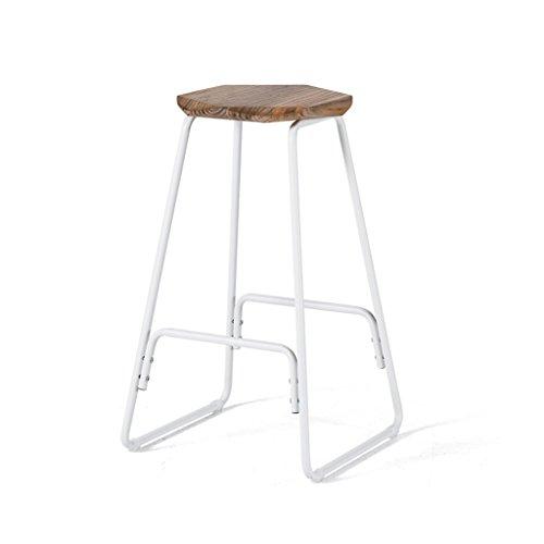 Stilvolle und kreative Loft Holz Barhocker Eisen Bar Stuhl Moderne einfache Haushalt Tochigi High Hocker Frühstück Bar Hocker Stuhl mit Hexagon Sitz und weißen Eisenrahmen ( Farbe : Holzfarbe - Barhocker Eisen