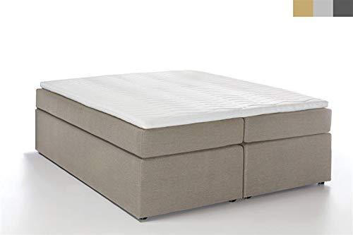 Furniture for Friends Boxspringbett Bella ohne Kopfteil inkl. Visco Topper, 7-Zonen Taschenfederkern-Matratze, Hotelbett Doppelbett Polsterbett