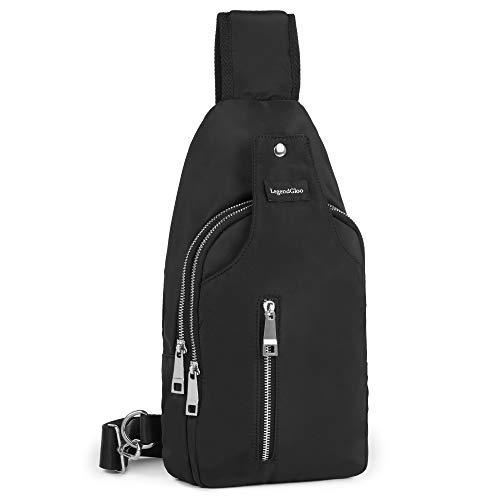 LegendGloo Bolso hombre pecho mochila negra cruzada bolsa bandolera pequeña espaciosa senderismo ciclismo...