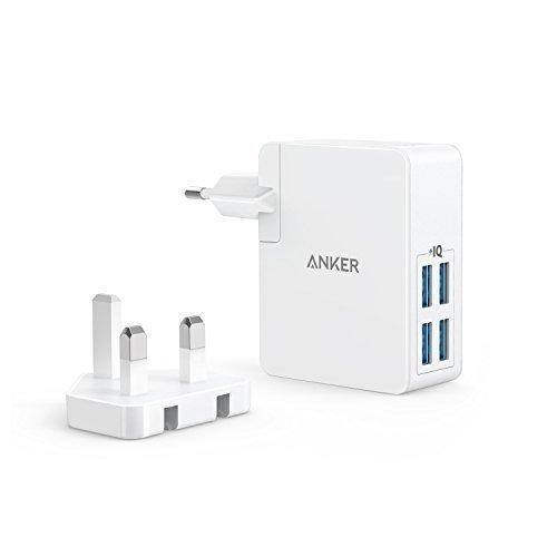 Anker PowerPort Lite 27W 2.4A 4 Port USB Ladegerät mit Austauschbarem UK und EU Reiseadapter und Power IQ für iPhone 8 / 8 Plus / 7 / 6s, iPad Air - Ladegerät Uk