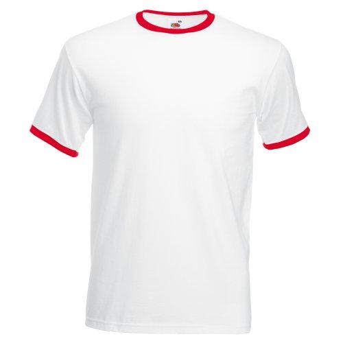 T-shirt à manches courtes Fruit Of The Loom pour homme Blanc/Rouge