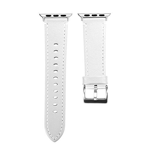 Vamoro Mode Leder ersatz Armband Strap Band Lederarmband Ersatzband Kalbsleder Ersatz Uhrenarmband Armband Premium Uhrenarmband für Apple Watch Serie 4 40mm(Weiß)