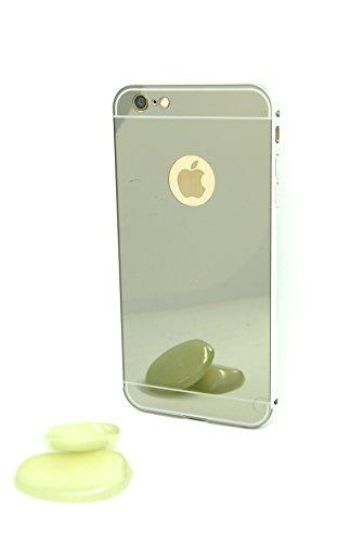 Mirror Bumper iPhone Case Specchio Soft Case Custodia protettiva cover iPhone 6/6S Plus specchio copertura, Ultra Slim Mirror Case Cover Skin, sottile custodia back cover a specchio, caso di telefono  argento