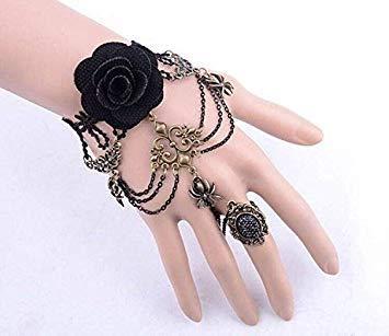 Pulsera fabricada a mano, diseño retro gótico con mariposa, negra