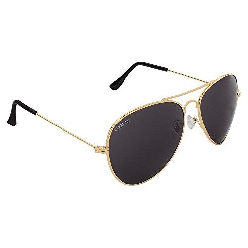 Creature Black Aviator Uv Protected Unisex Sunglasses (Lens-Black||Frame-Golden||SUN-005)
