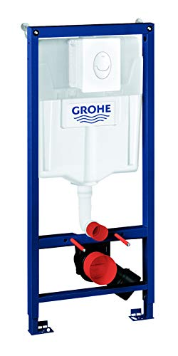 GROHE Rapid SL | Installationssystem - 3-in-1 SET für Wand-WC | 113 cm | mit WANDHALTER und Betätigungsplatte Skate Air in alpinweiß | 38722001