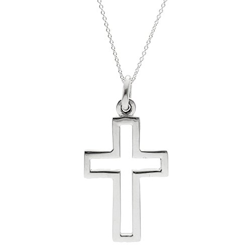 Silverly Frauen Männer 925 Sterling Silber Große Geöffnet Kruzifix Kreuz hängende Kettenhalskette, 46cm (Großes Kruzifix Charme)