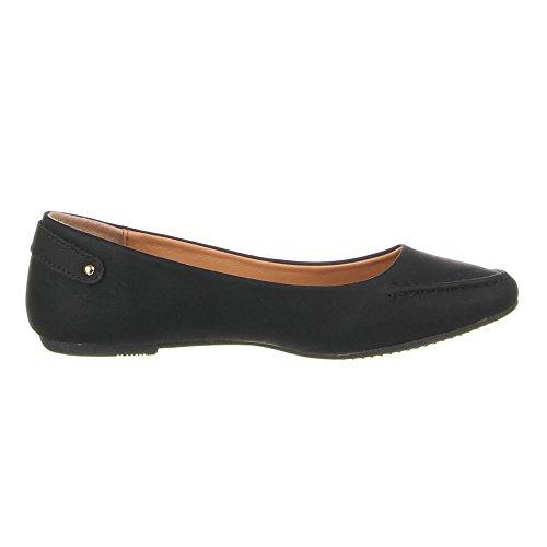 Damen Schuhe, B808-BL, BALLERINAS Schwarz