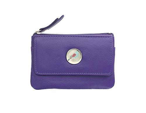 Borsellino Portamonete con Chiusura Zip Mala Leather Collezione ORIEL con Portachiavi 4122_84 Porpora Porpora