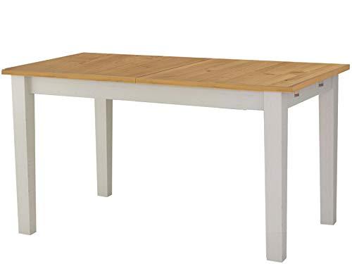Moderner Ausziehbarer Esstisch (Loft24 Esstisch ausziehbar Esszimmertisch 160-200 cm Küchentisch Holztisch Kiefer Massivholz weiß honig)