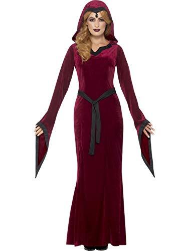 erdbeerclown - Damen Frauen Kostüm Horror Vampir Dracula Kaputzen-Kleid mit Gürtel im Mittelalter Stil, Medieval Vampiress Costume, perfekt für Halloween Karneval und Fasching, S, Rot