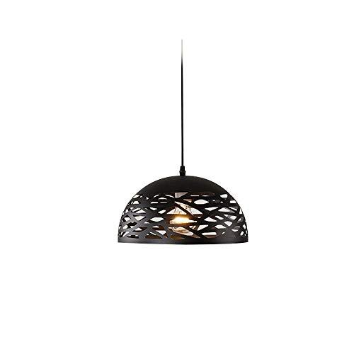 YLCJ Schwarze LED Energiesparlampe Kreative Schmiedeeisen Restaurant Kronleuchter Hohl Lampenschirm Geeignet für Coffee Shop Hot Pot Restaurant A ++