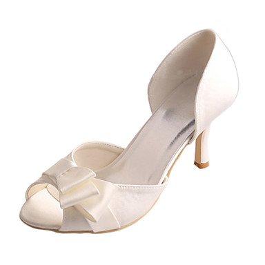 Rtry Femmes Chaussures Pompe De Mariage Base Stretch Satin Summer Party Mariage & Amp; Soirée Bowknot Stiletto Talon Ivoire 3a-3 3 / 4en Ivoire Us6 / Eu36 / Uk4 / Cn36 Us7.5 / Eu38 / Uk5.5 / Cn38