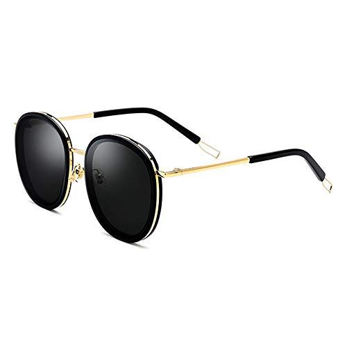 Zona Elegent Runde Platte Brille Männer Metallrahmen Mode Outdoor Sonnenbrille Weibliche Graue Linse UV400 Schutz Bezaubernd (Farbe : Gold)