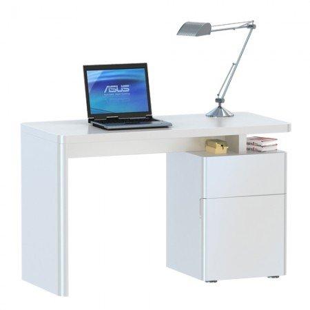 Jahnke CU-LIBRE 120 HG-WS Schreibtisch, E1 Spanplatte, Dekorbeschichtung, Metall, hochglanz-weiß, 120 x 55 x 76