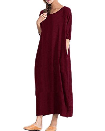 Kidsform Women Maxi Dress Short Sleeve Solid Casual Loose Beach Summer Pockets Kaftan Dress