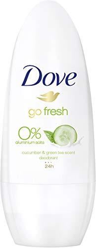 Dove go fresh Gurken und Grüner Tee Duft 0Prozent Aluminiumsalze, Roll-On, 6er Pack (6 x 50 ml) - Duft Grün