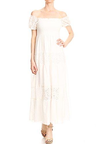 Anna-Kaci Damen Vintage Bauer Renaissance Spitze Kurarm Maxi Kleid, S, Crem Weiß (Frauen Renaissance-kleidung Für)