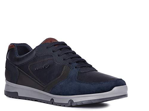 Geox Herren Low-Top Sneaker Wilmer, Männer Sneaker,Halbschuh,Sportschuh,Schnürschuh,atmungsaktiv,Navy/DK Coffee,44 EU / 10 UK