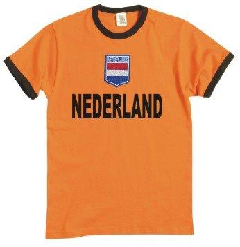 Niederlande/Nederland/Holland T-Shirt im Trikot Look + Wappen S-XXL orange/schwarz L