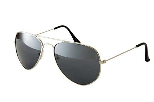 Pilotenbrille Fliegerbrille Sonnenbrille Nerd Brille Vintage Classic Look UV Schutz 400 - Silber Dunkle Gläser