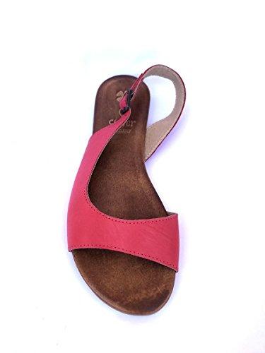 Sandali tacco basso CL461 in pelle cuoio bianco nero zeta MainApps Rosso