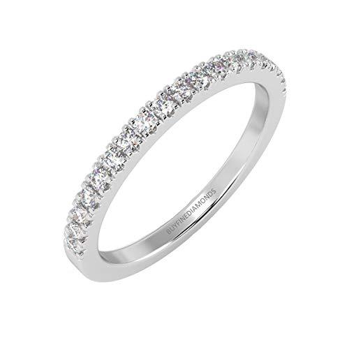 Anello half eternity in oro bianco 18 carati, con diamanti 0,20 k, rotondi, montati a pavé e oro bianco, 52 (16.6), cod. hdr0422.5
